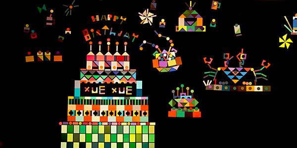 學學文創志業五歲了,12月10日歡度五週年慶,在學學大樓三樓「文化色彩研究室」推出以色彩磁鐵創作蛋糕的活動,參加者踴躍,紛紛用五顏六色的磁鐵拼貼出屬於自己的蛋糕,並插上富有創意的蠟燭,祝賀學學五週年快樂。讓我們用繽紛的蛋糕磁鐵牆,跟學學說聲:「生日快樂」!